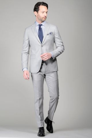 Pearl grey suit structrued slim Angelico