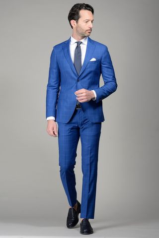 Royal blue suit 100s checkered slim Angelico
