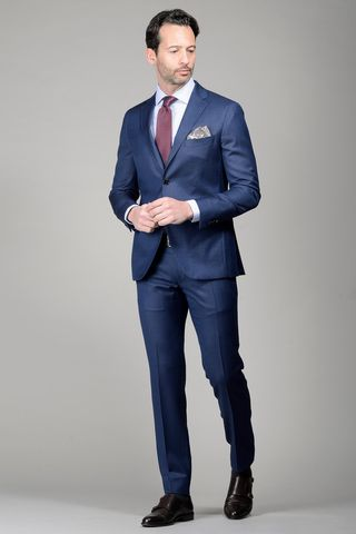 Blue suit micro-pattern 100s slim Angelico