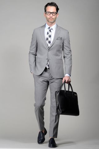 Light grey suit slim Angelico