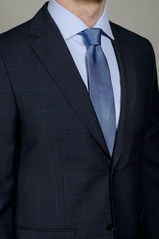 navy-azure suit wales 100s Angelico