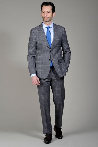grey-blue suit 140s walles check Angelico