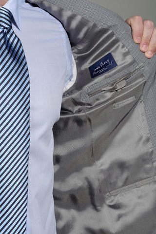 grey-azure micropattern suit 140s