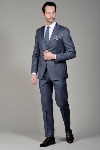 Sugar Blue suit 140s fine pattern Angelico