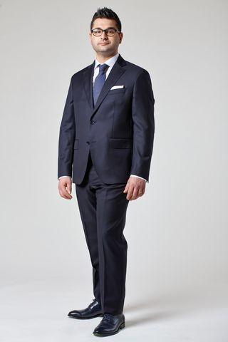 navy pinstriped suit 140s comfort Angelico