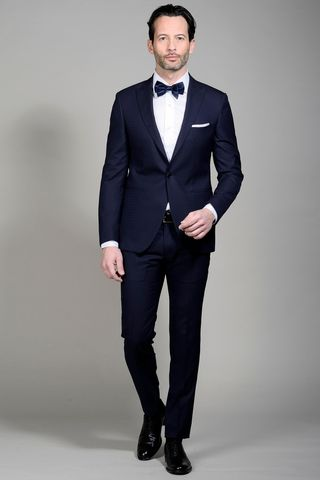 Blue suit peak lapel slim Angelico