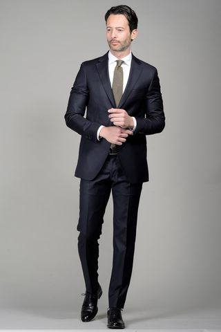 Navy pinstriped suit 140s slim Long Angelico
