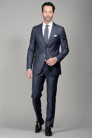 Blue suit 140s slim Long Angelico