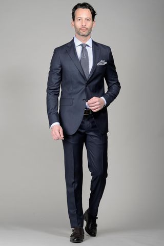 Navy suit 140s slim Long Angelico