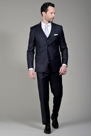 blue suit 140s  with waistcoat Angelico