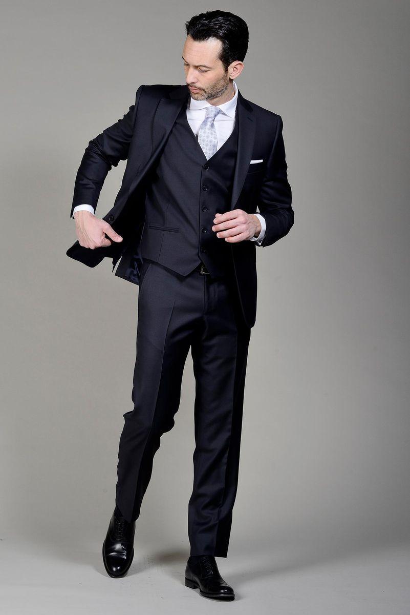 prestazione affidabile nuovi prodotti caldi economico in vendita Angelico Abito blu con gilet 140s, abiti da Uomo, in lana, blu