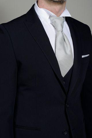 abito blu con gilet punta lancia slim Angelico