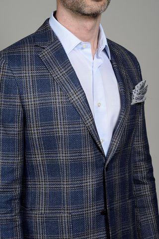 blue-beige linen-cotton wales jacket Angelico