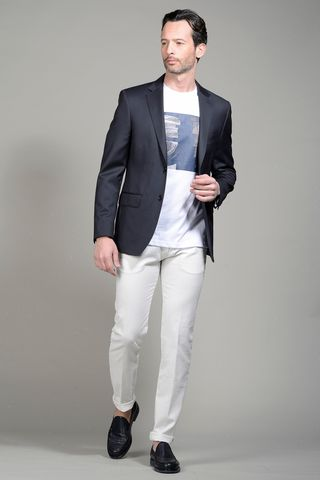 blazer blu lana 100s foderata Angelico