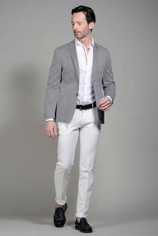 Giacca blu-bianca jersey fantasia stella slim Angelico