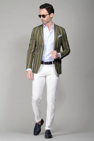 Green pinstriped jacket slim Angelico