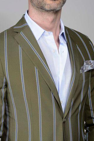 green pinstriped jacket slim Angelico