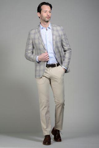 Beige-brown linen-cotton Wales jacket slim Angelico