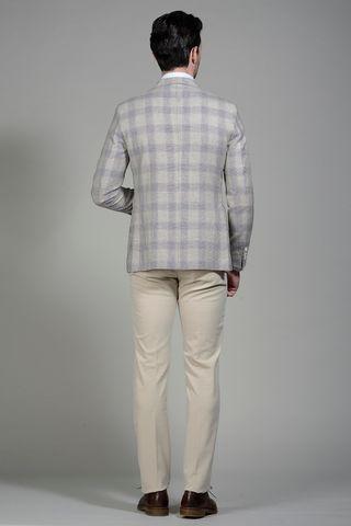 giacca beige-mattone galles lino-cotone slim Angelico