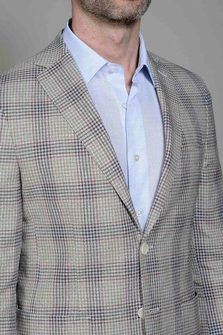 giacca beige-moro galles lino-cotone slim Angelico