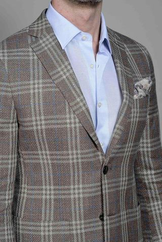 giacca marrone-blu galles lino-cotone slim Angelico