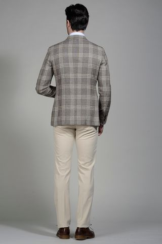 brown-blue linen-cotton wales jacket slim Angelico