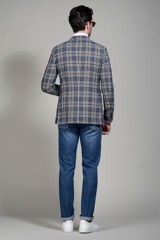 giacca blu-antracite galles cotone-lana slim Angelico