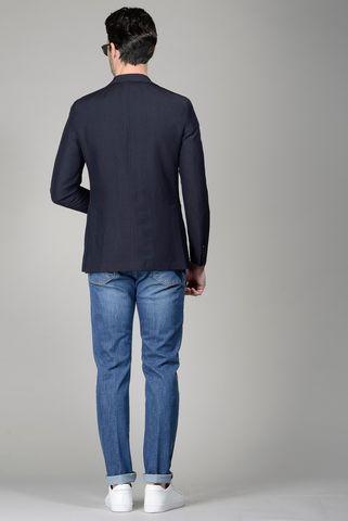 giacca blu lino-lana slim Angelico