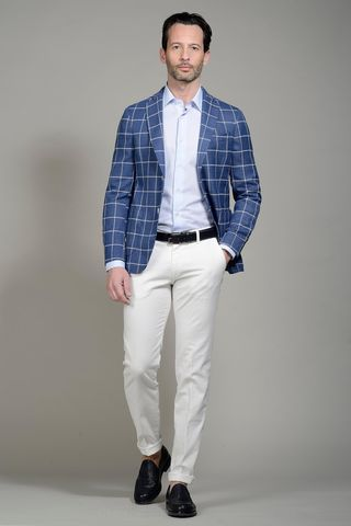 blue-white checkered jacket slim Angelico