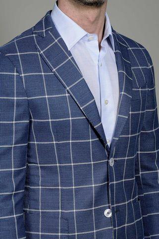 giacca bluette quadro bianco slim Angelico