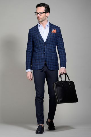 Blue-black Wales slim jacket Angelico