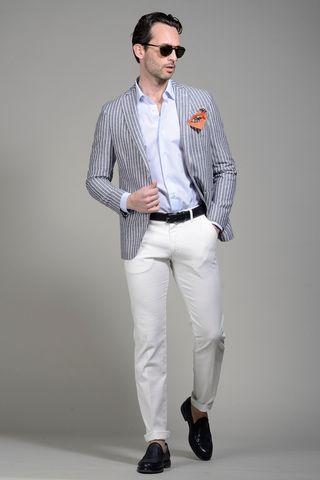 Azure pinstriped jacket linen-cotton slim Angelico