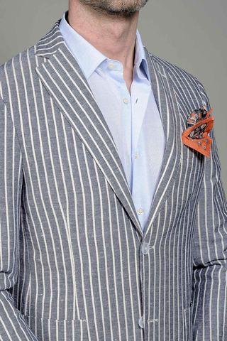 giacca azzurra gessata lino-cotone slim Angelico