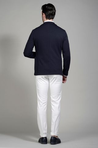 giacca blu jersey maglia slim Angelico