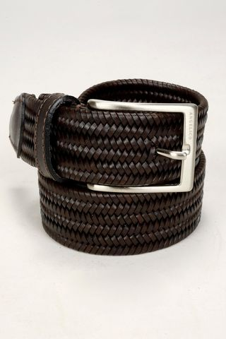 Brown braided elastic leather belt Angelico