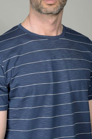 blue striped t-shirt slub jersey Angelico