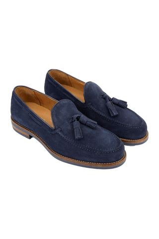 navy suede moccasin Angelico