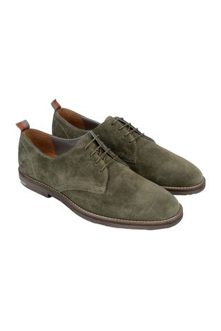 sage green suede derby shoes Angelico