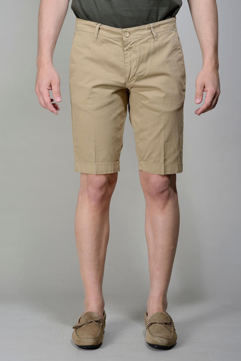 beige bermudas stretch cotton Angelico
