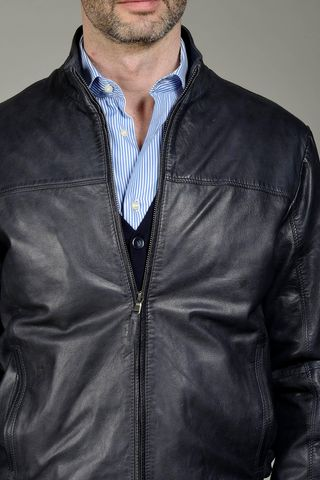 navy leather bomber Angelico