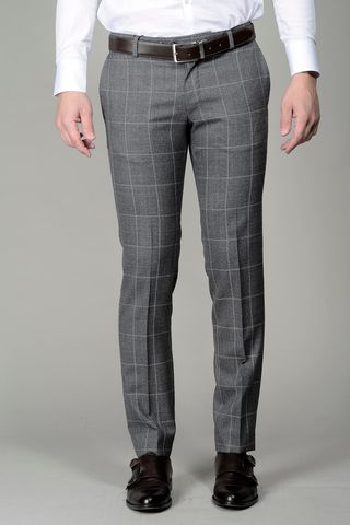 grey checkered trousers slim Angelico