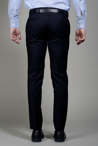 Pantalone blu scuro lana slim Angelico