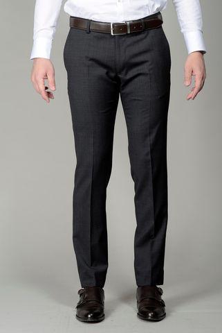 Dark grey trousers structured wool slim Angelico