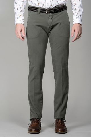 Green trousers micropattern slim Angelico