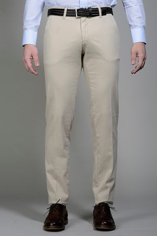 Beige trousers micropattern slim Angelico