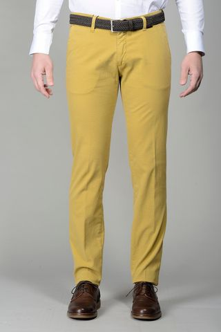 mustard trousers micropattern slim Angelico