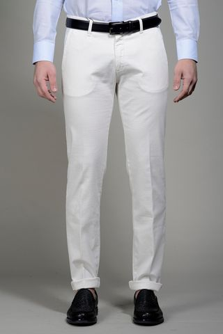 White trousers micropattern slim Angelico