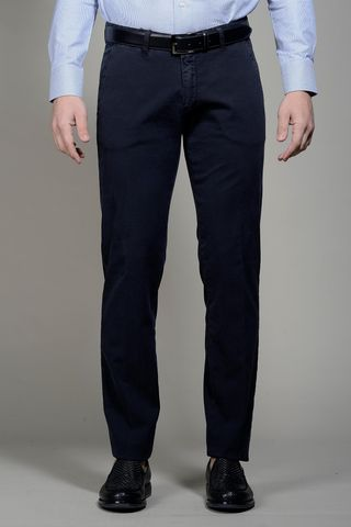 Navy trousers micropattern slim Angelico