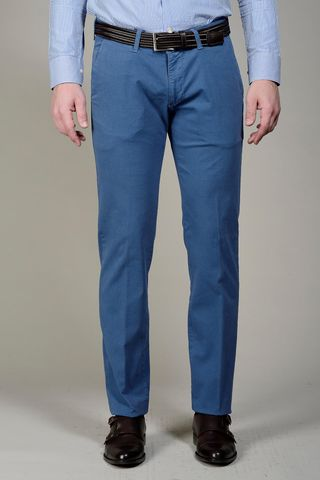 Sugar blue trousers rhombus pattern slim Angelico