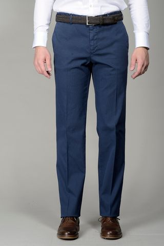 Blue trousers stretch cotton comfort Angelico